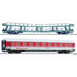 Tillig 01704 Reisezugwagenset Rollende Raststätte der DB AG, bestehend aus einem Autotransportwagen DDm 915 und einem Reisezugwagen 1. Klasse Avmz 111.2, Ep. V