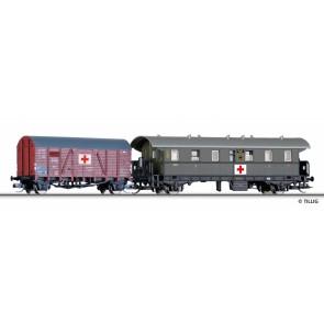 Tillig 01753 Set Lazarettzug der DRG, bestehend aus einem Personenwagen und einem gedeckten Güterwagen, Ep. II