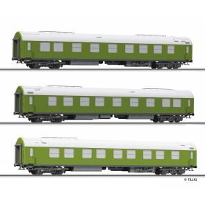 Tillig 01759 Reisezugwagenset Salonwagenzug 1 der DR, bestehend aus Salonwagen B mit Küche, Salonwagen B ohne Küche und Beiwagen zu Salonwagen B, Ep. IV
