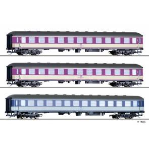 Tillig 01762 Set Pop-Lackierung der DB, bestehend aus drei Reisezugwagen, Ep. IV