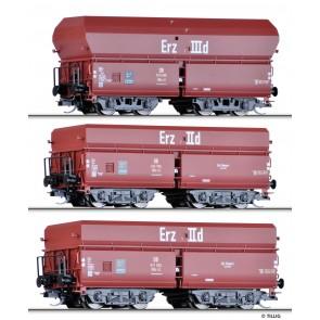 Tillig 01766 Güterwagenset Erzzug 3 der DB, drei Selbstentladewagen OOtz 41 und OOtz 43, Ep. III