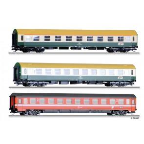 """Tillig 01777 Reisezugwagenset """"Vindobona 2"""" der DR/ÖBB, bestehend aus drei Reisezugwagen, Ep. IV"""