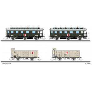 """Tillig 01786 Set """"Vereins-Lazarettzug"""" der K.P.E.V., bestehend aus zwei Reisezugwagen, einem Kühlwagen und einem gedeckten Güterwagen, Ep. I"""