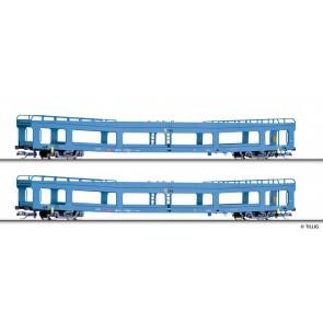 Tillig 01788 Wagenset der DB AG, bestehend aus zwei Autotransportwagen DDm 916, Ep. V
