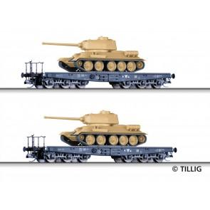 Tillig 01801 Güterwagenset der DR, bestehend aus zwei Schwerlastwagen SSyms, beladen mit Panzer T34/85, Ep. III