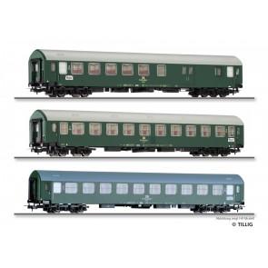 Tillig 01806 Reisezugwagenset Interzonenzug 2 der DR, bestehend aus zwei Reisezugwagen Typ Y/B 70 und einem Reisezugwagen Typ Y, Ep. IV