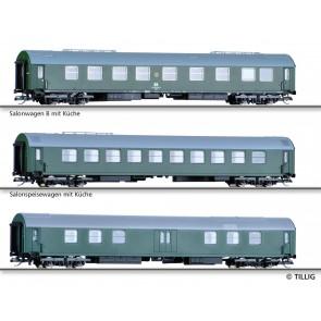 Tillig 01808 Reisezugwagenset Salonwagenzug 3 der DR, bestehend aus Salonwagen B mit Küche, Salonspeisewagen mit Küche, MaschinenGepäckwagen, Ep. IV