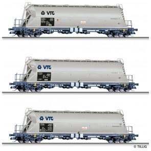 Tillig 01820 Güterwagenset der VTG AG, bestehend aus drei Staubebälterwagen, Ep. VI
