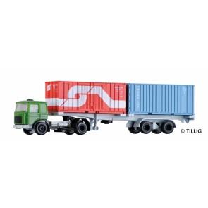 Tillig 08716 LKW MAN mit Containerauflieger, beladen mit zwei Containern